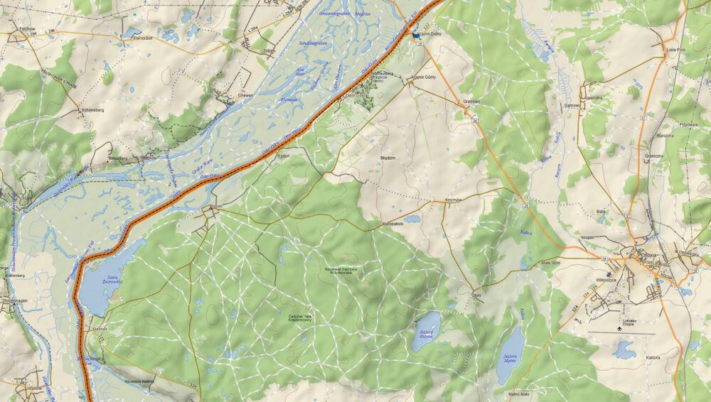 Wycinek mapy z okolic Krajnika Dolnego
